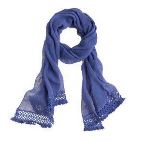 J. Crew | Linen-cotton crochet-trim scarf blue